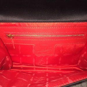 Christian Louboutin Bags - Christian Louboutin Blk Satin Crystal Flap Clutch